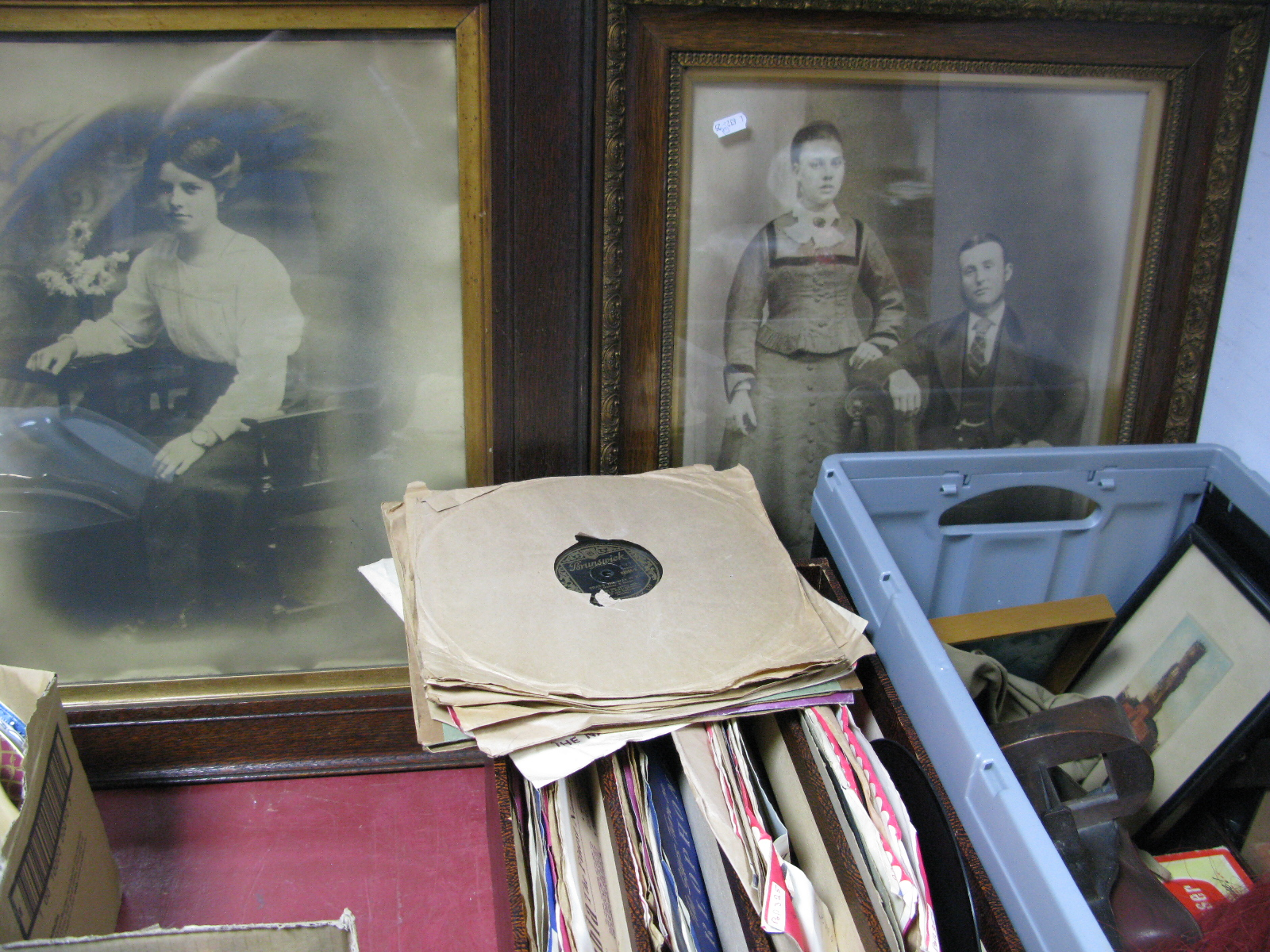 Lot 1044 - An 'Aquatania' Liner Picture, gents shoes, clock weight, records, two family prints, etc.