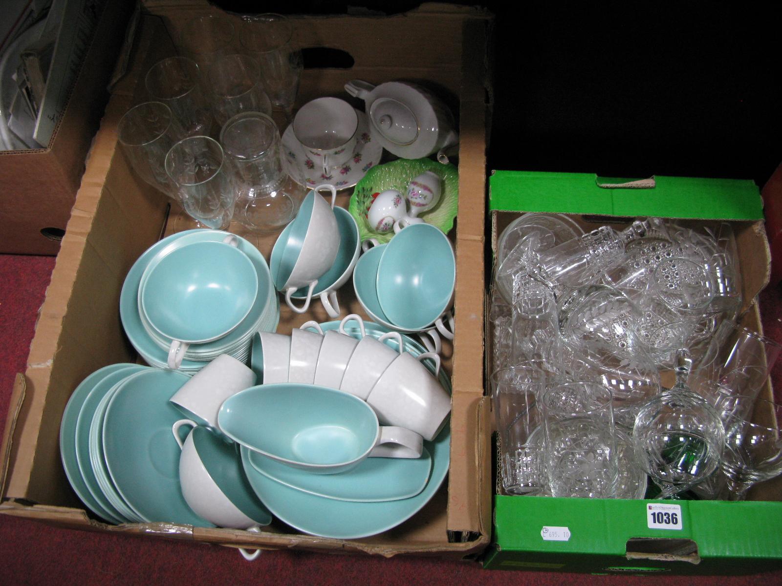 Lot 1036 - Poole Twin Tone Tea and Dinner Wares, carafe, wines, bachelors teapot, etc:- Two Boxes