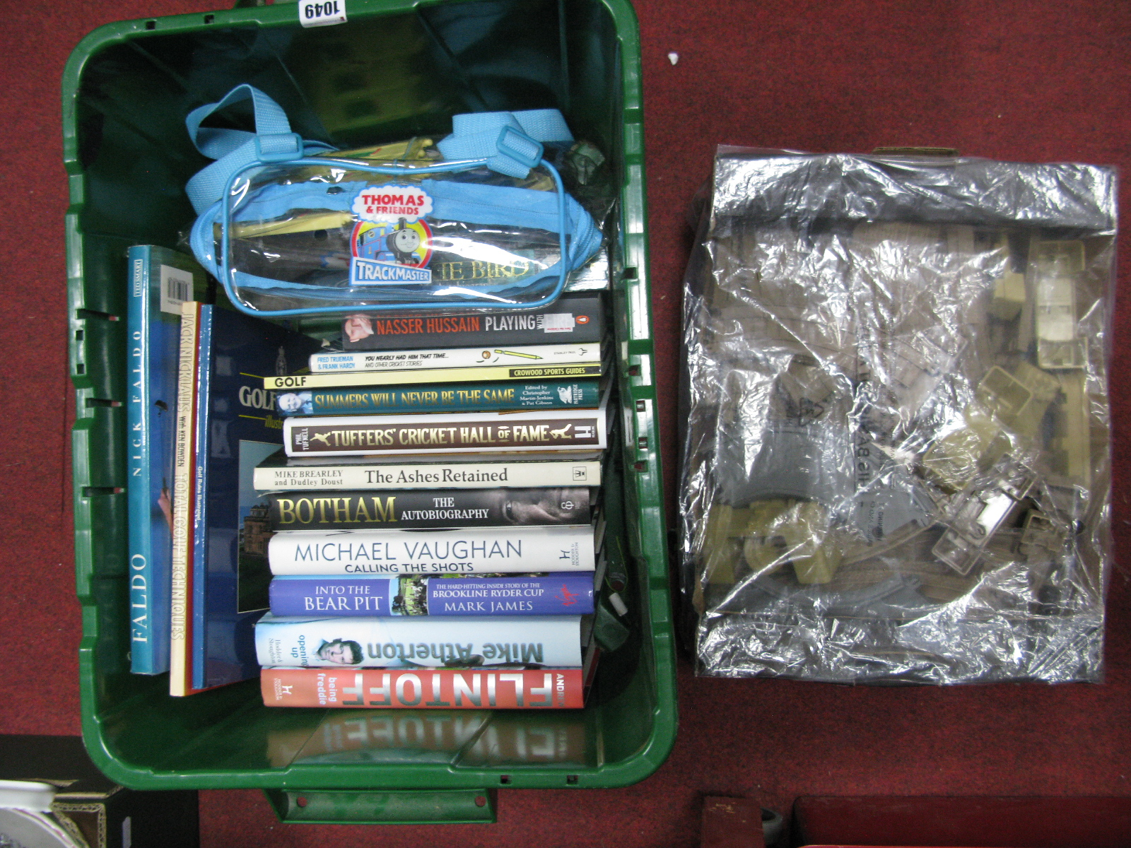 Lot 1049 - Sports related autobiographies, Thomas the Tank track, shed etc:- Two Boxes