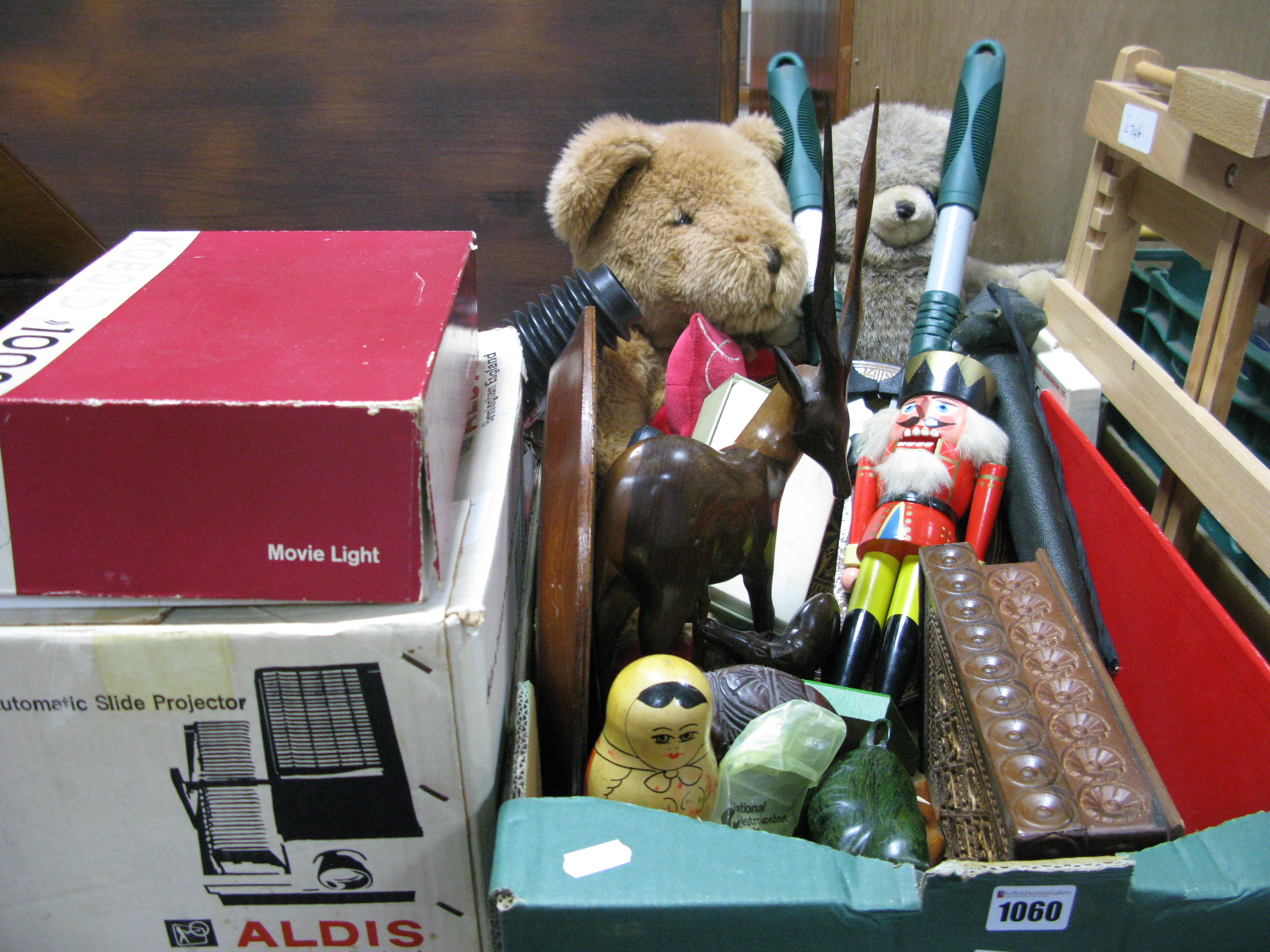 Lot 1060 - Carved Hardwood Plates, soft toy bears, wooden soldier, babushka, hardstone rhinos, etc.