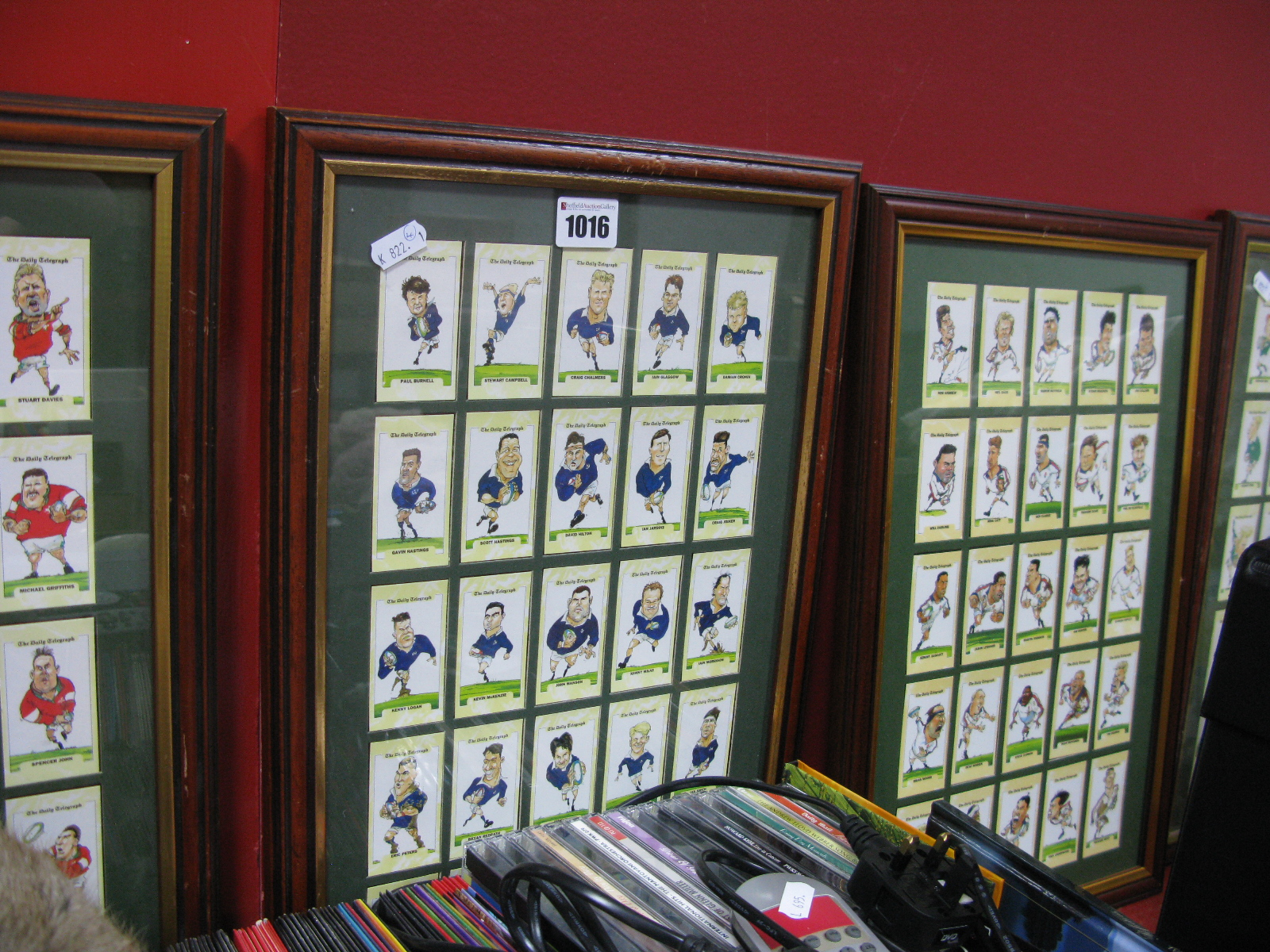 Lot 1016 - Four Daily Telegraph 1995 Rugby World Cup Home Nations Trade Card Sets, framed.