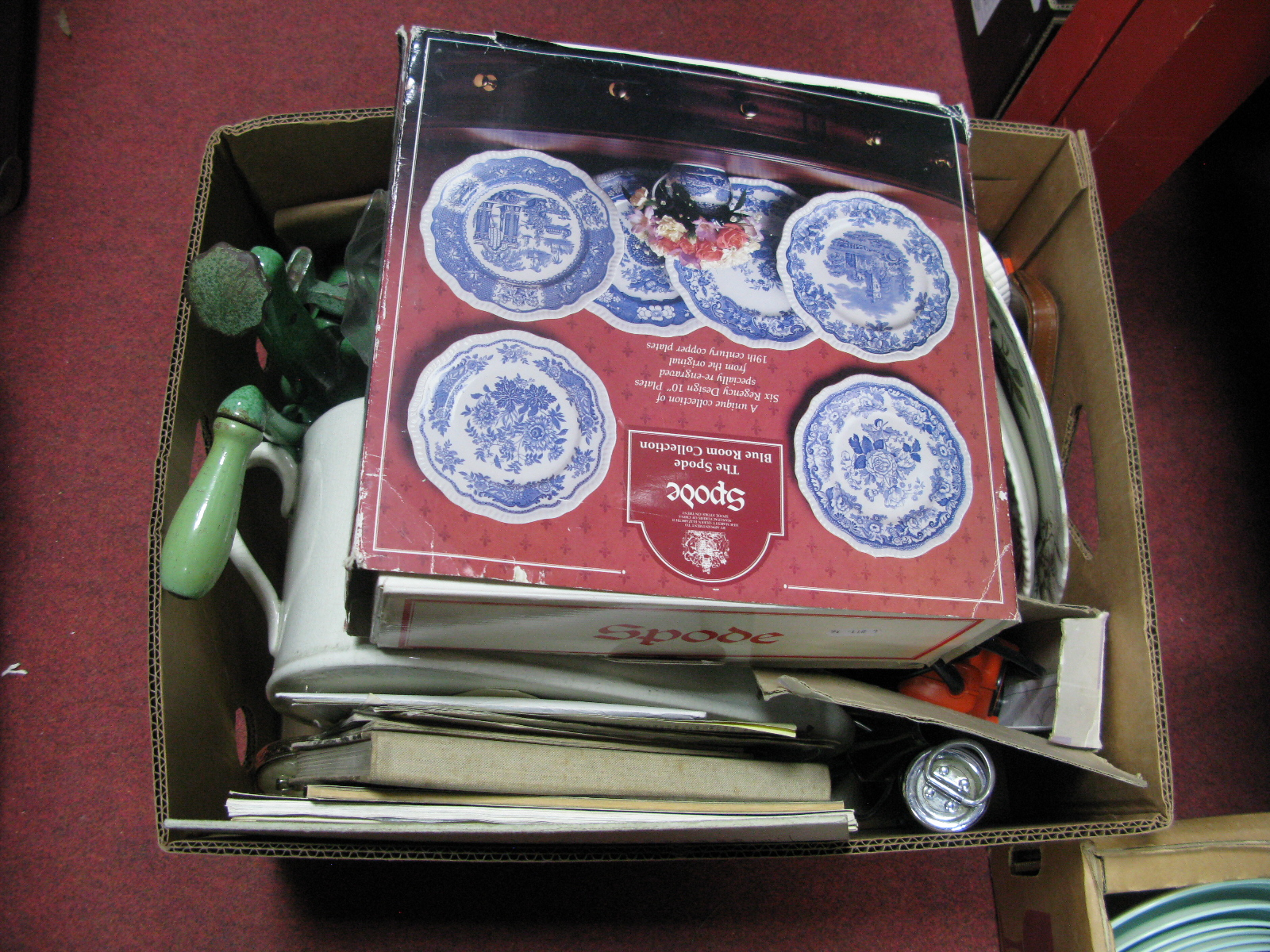 Lot 1035 - Spode The Blue Room Collection, six plates (boxed), mincer, bedpan, pewter etc:- One Box