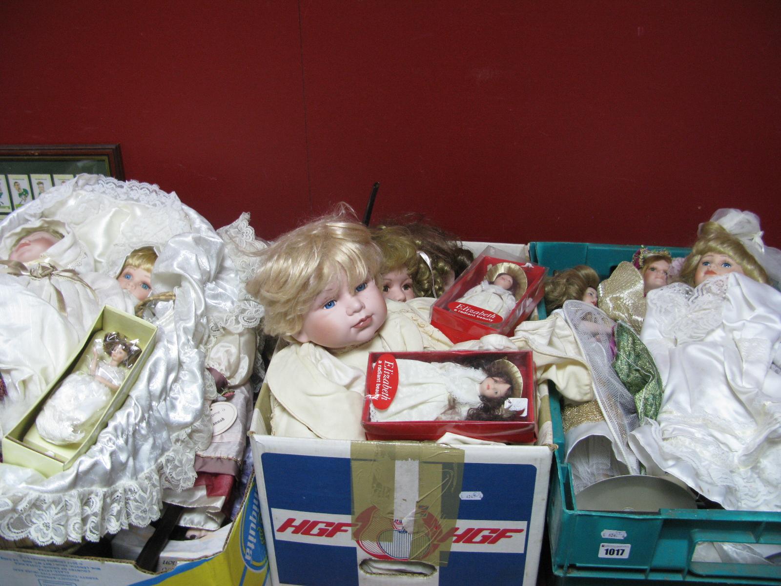 Lot 1017 - Quantity of Pottery Headed Dolls, Franklin Heirloom, Elizabeth.
