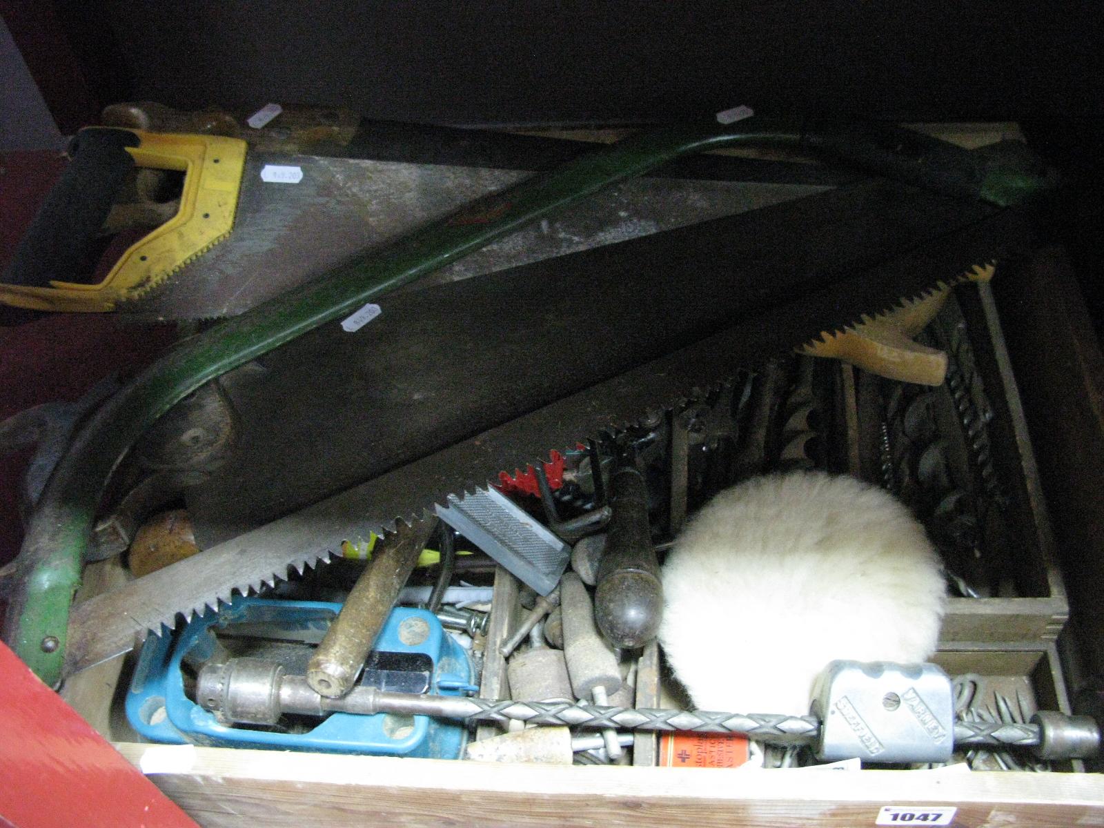 Lot 1047 - Chisels, pliers, bib-brace, drill parts.