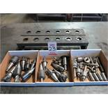 LOT - (3) BOXES OF 40 TAPER TOOL HOLDERS, TOOLING, CHUCKS AND 5C COLLETS