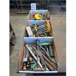 LOT - (3) BOXES OF HOLE SAWS AND MISC HAND TOOLS