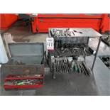 LOT - MORRIS TAPER TOOLING: COUNTERSINKS, DRILLS, REAMERS, MISC HAND TOOLS IN (2) TOOL BOXES, ETC.