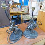 2 METAL FIGURE TABLE LAMPS ON OVAL METAL BASES