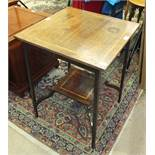 An Edwardian inlaid mahogany square-top two-tier occasional table on square tapering legs, 54cm.