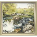 Rosalind Pierson, three contemporary miniature watercolours: 'River Lyd' 7.5 x 4.5cm, 'River