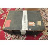 Two wooden packing cases with Cunard and White Star Line labels.