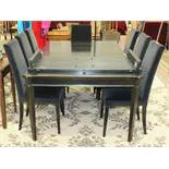 A Laura Ashley 'Henshaw' black extending dining table with extra leaf, 174 x 114cm closed, 174 x