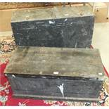 A quantity of hand tools contained in two wooden toolboxes.