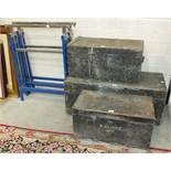 Three stained wood tool boxes, various hand tools, two Workzone folding stands, etc.