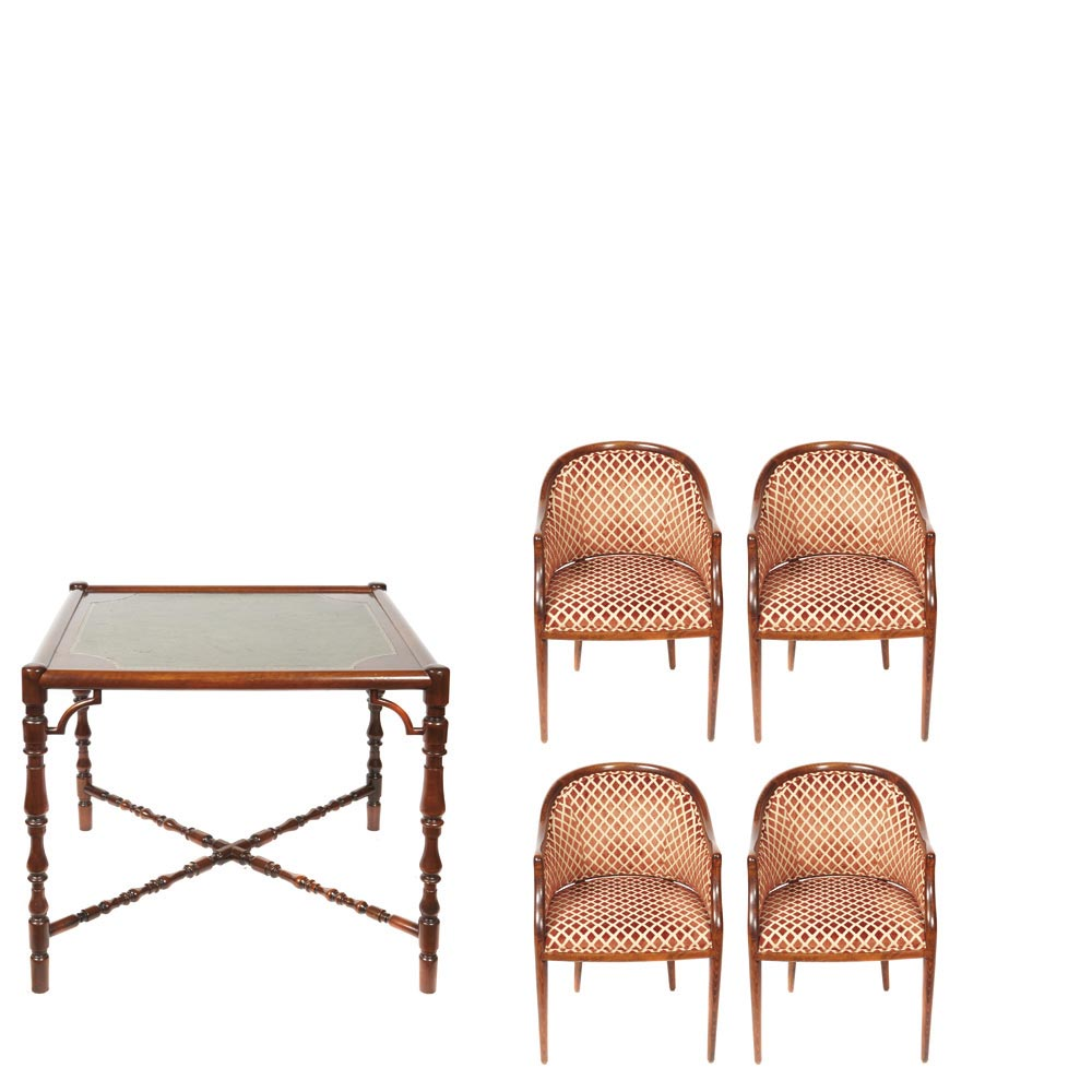 Spanish Valenti Beech Game Table And Four Seats Juego De Cuatro