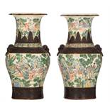 Two Chinese crackleware ground famille verte Nanking vases, all-over decorated with animated scenes