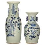 Two Chinese blue and white celadon ground vases, decorated with birds, flowers and auspicious symbol