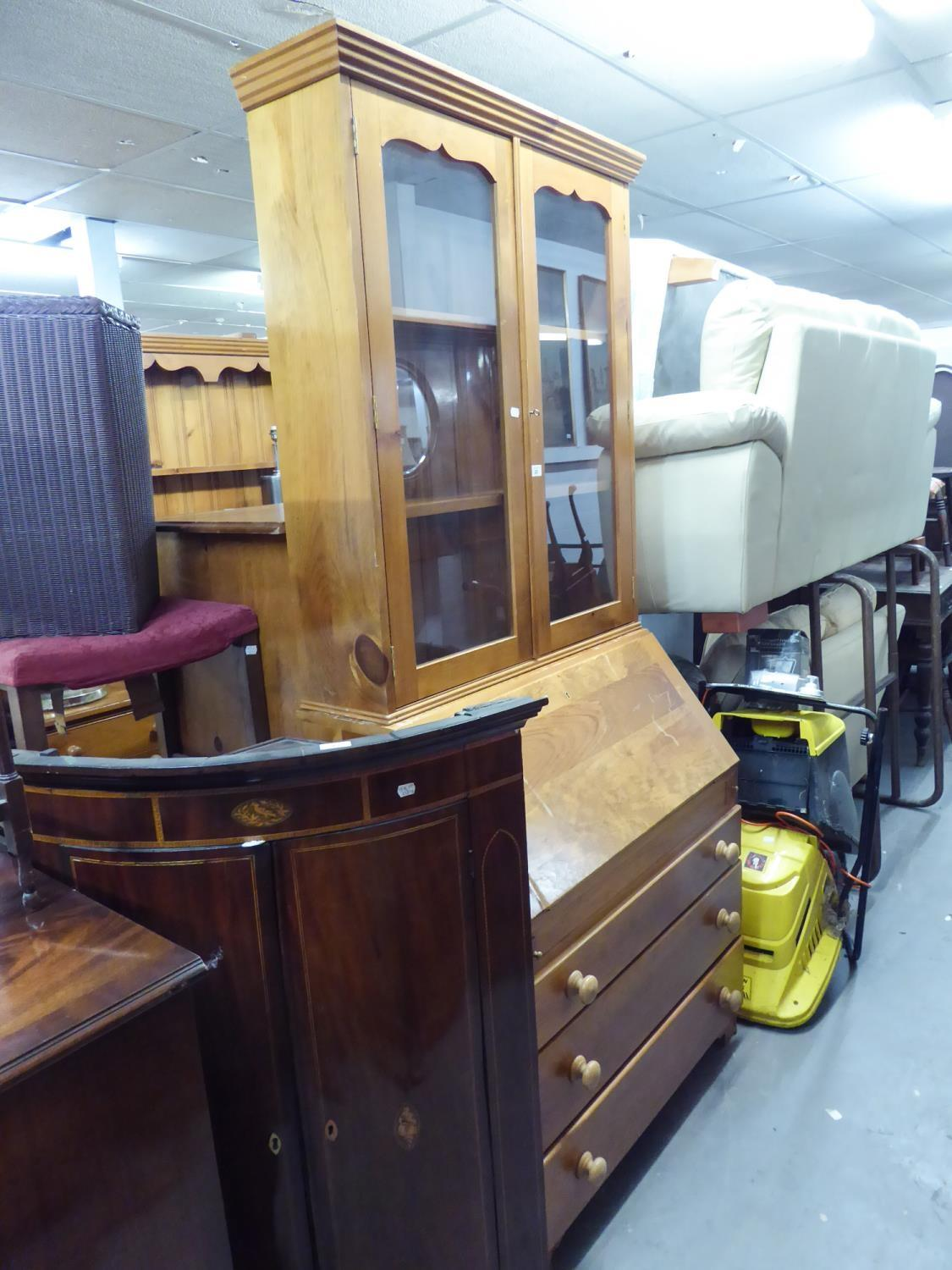 Lot 26 - A PINE BUREAU BOOKCASE, THE UPPER SECTION HAVING TWO GLAZED DOORS, THE BASE HAIVNG FALL-FRONT OVER