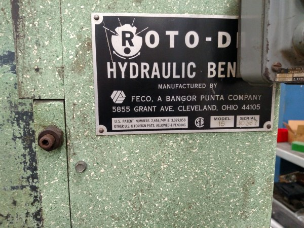 Lot 48 - Roto-Die Model 15 Hydraulic Press Brake NEW 1977