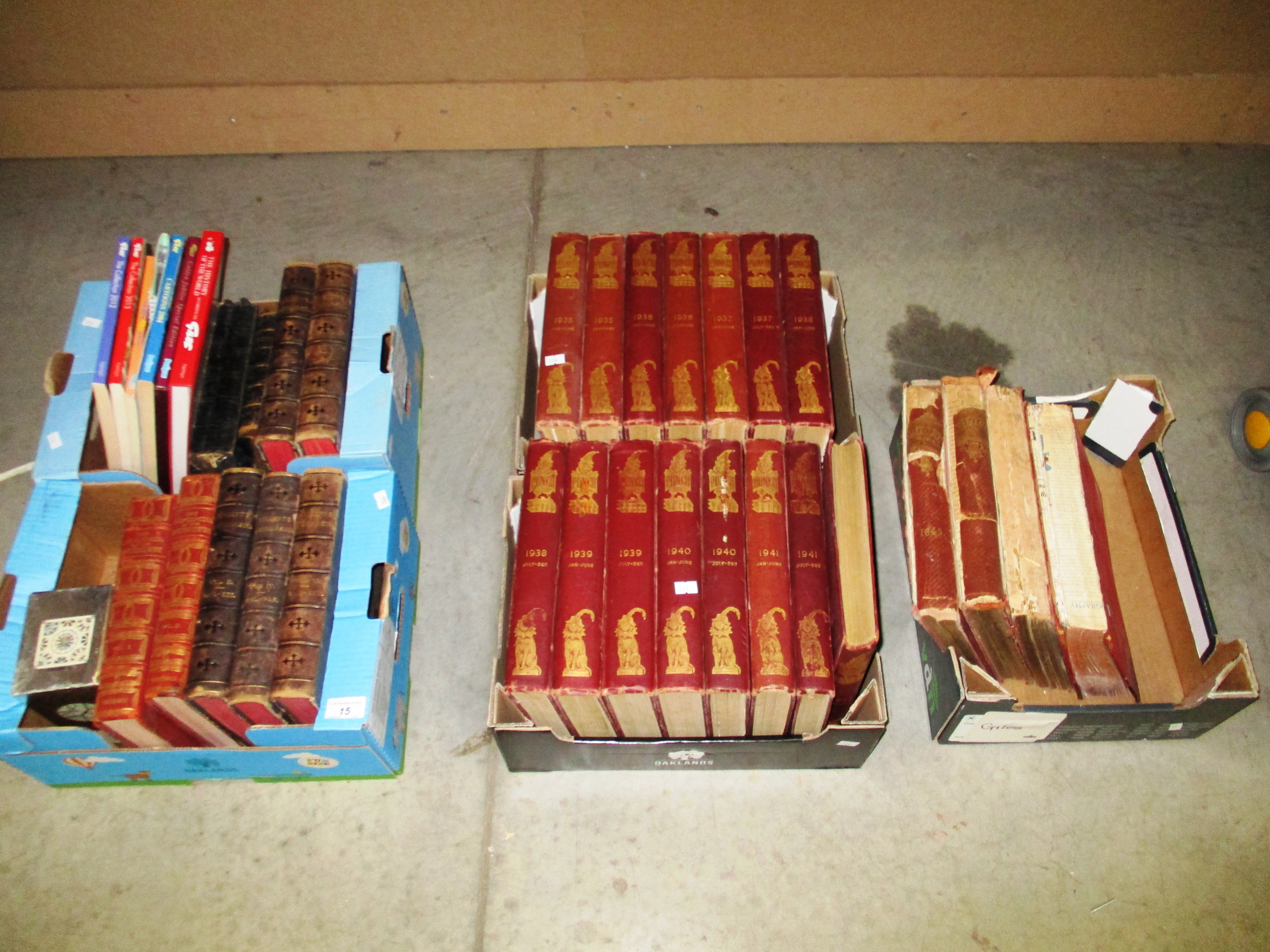 Lot 15 - A run of volumes of Punch from 1935-1942 (Jan/June), 4 other volumes of Punch 1843 etc,