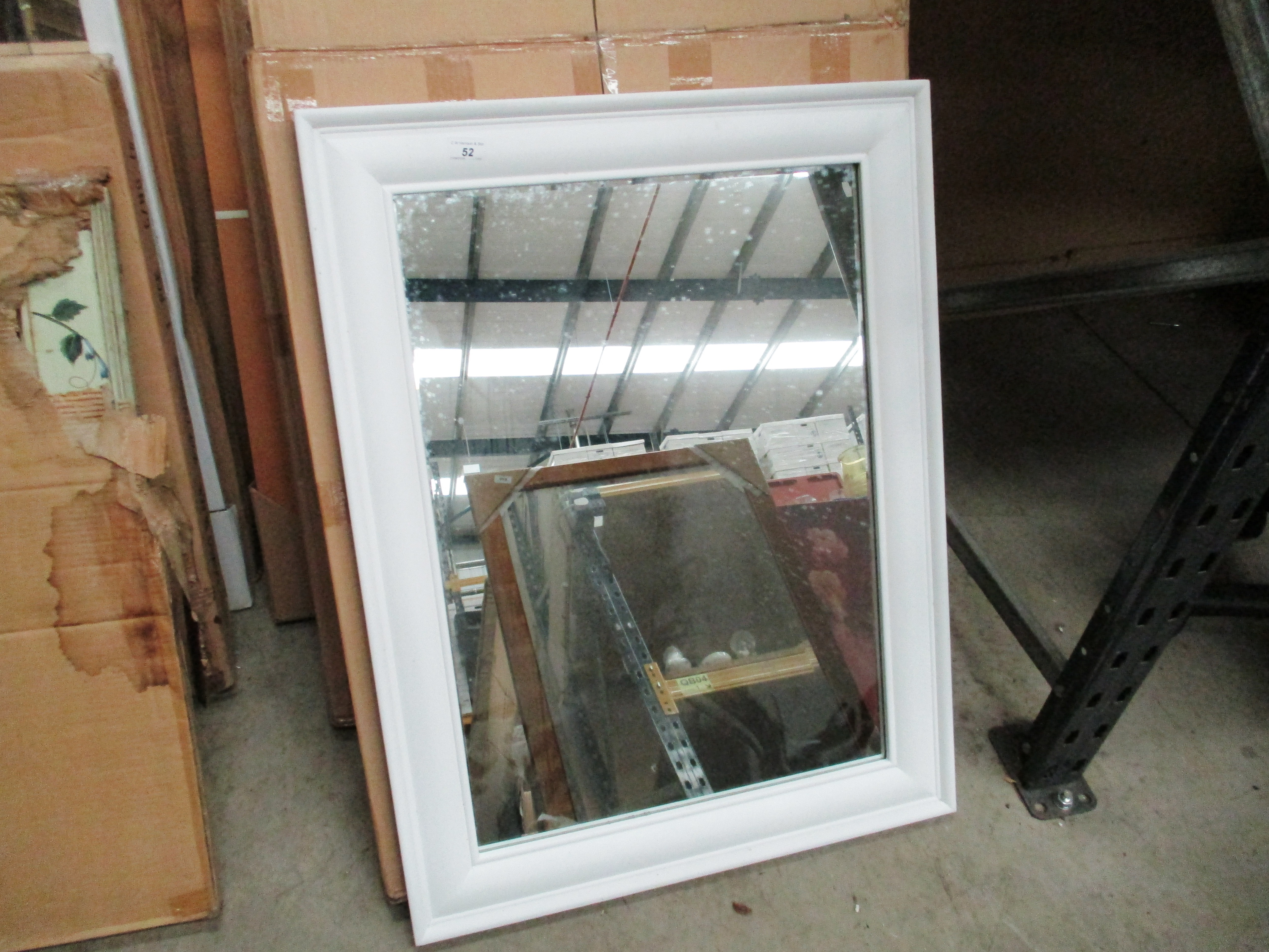 Lot 54 - A Mods white framed wall mirror 88 x 68cm
