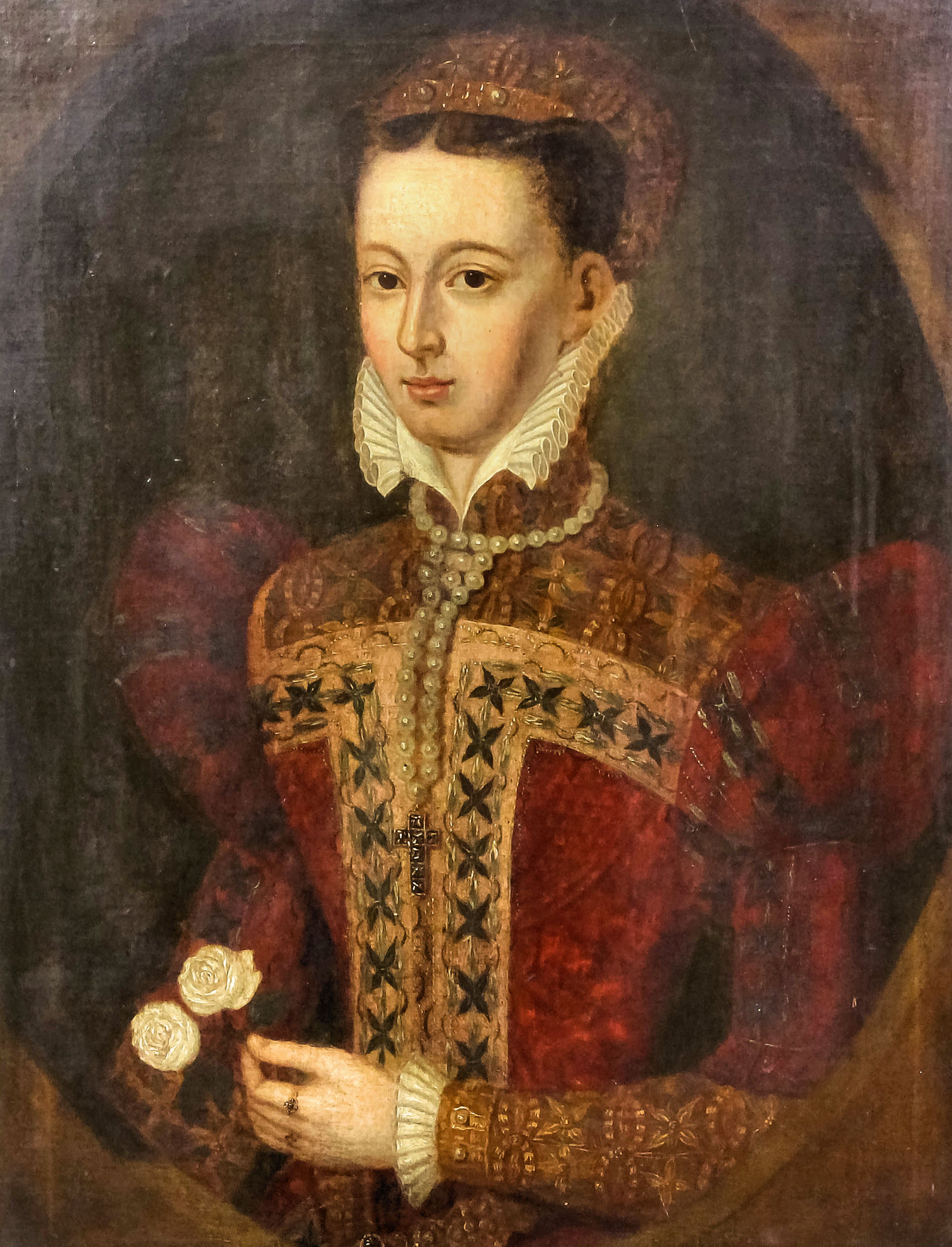 18th/19th Century British School - Oil painting - Half length portrait of Mary, Queen of Scots,