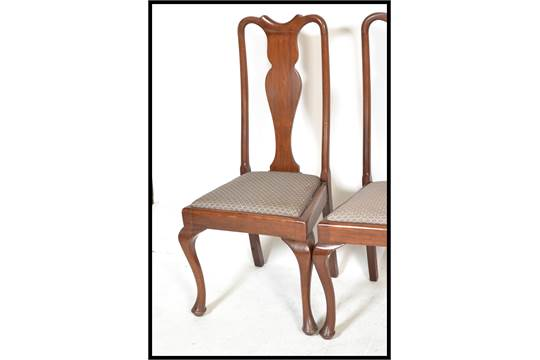 A Set Of 4 Edwardian Mahogany Queen Anne Dining Chairs Together With Another Similar 5 Total