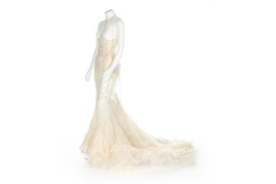 Björk\'s Alexander McQueen pearl beaded \'bridal\' gown, made for the ...