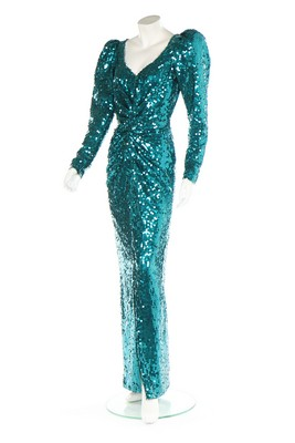 Lot 210 - Princess Diana's Catherine Walker sea-green sequined evening gown,