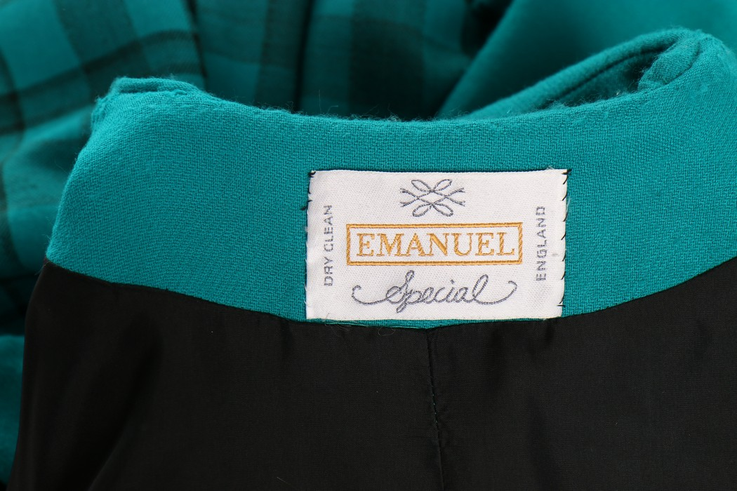 Lot 208 - Princess Diana's Emanuel couture teal tartan wool day ensemble, 1985, labelled 'Emanuel Special',