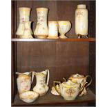 "A pair of Crown Devon ""blush ivory"" vases, two jugs, two teapots, a hat pin holder and other items"
