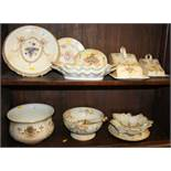"Two Crown Devon ""blush ivory"" cheese dishes and covers, a salad bowl and servers, a teapot stand,"