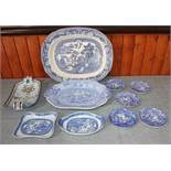 "A 19th century proto-willow pattern shaped dish, another similar, a ""Willow"" pattern turkey platter,"