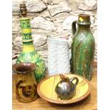 "A Prestbury pottery bowl, 9 1/4"" dia, two studio pottery jugs, a vase with flared lip, a table"