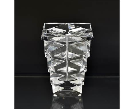 "A Baccarat Crystal glass ""TOTEM"" vase 20th century, designed by Nicholas Triboulot, having original sticker, etched to base a"
