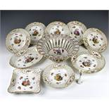 A Meissen porcelain part dessert service late 19th / early 20th century, probably outside decorated,