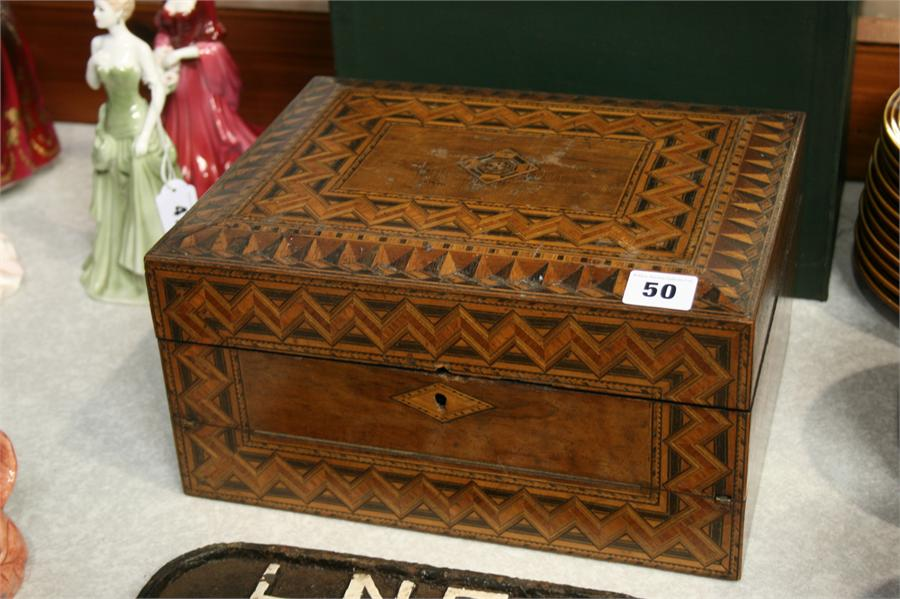 Lot 50 - Parquetry work box and writing slope