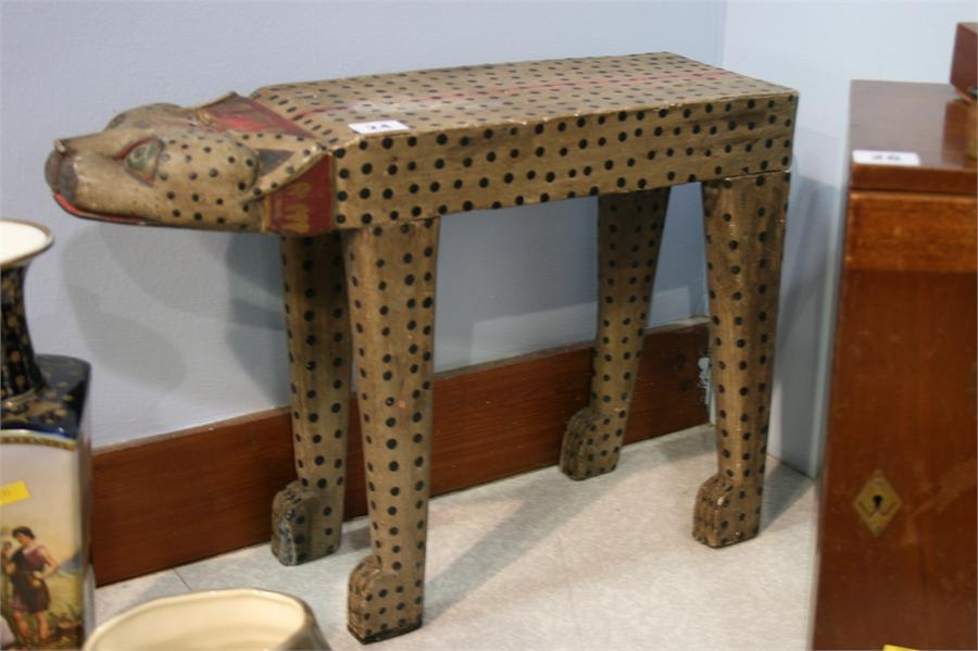 Lot 24 - Carved wood stool in the form of a leopard