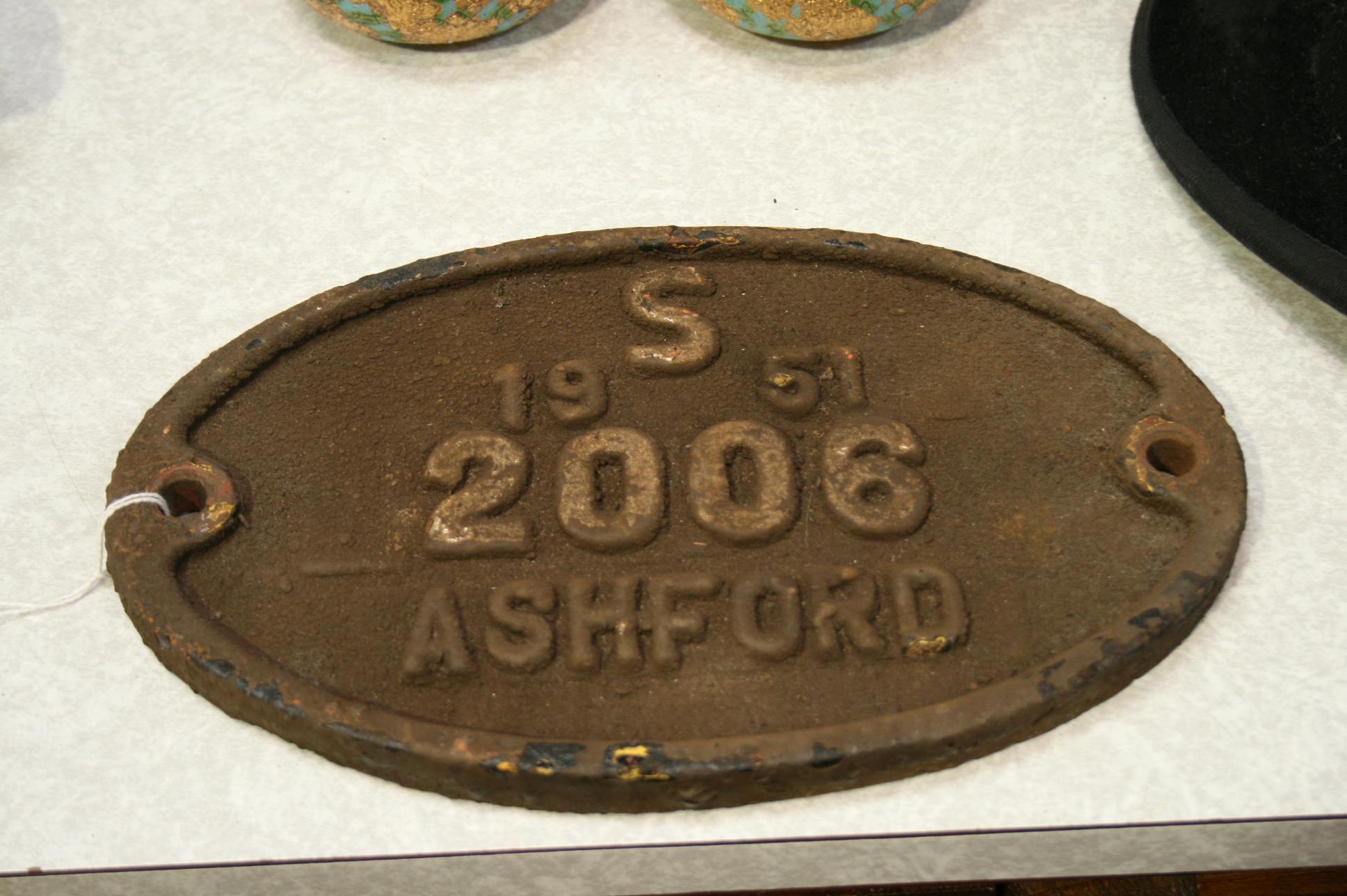 Lot 6 - 1951 Ashford Railway plate