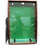 A Wood Framed Glass Fronted Display Cabinet, with eight glass shelves. L61.5cm, W41cm, D9.5cm.