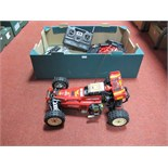 A Tamiya Hotshot Radio Control Buggy, radio gear fitted, with Futaba transmitter, Acoms fast charger