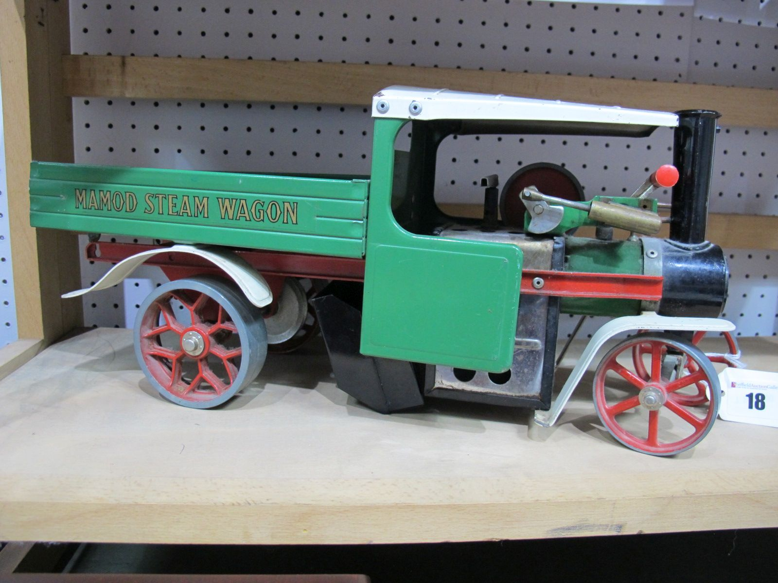 Lot 18 - A Mamod SW1 Live Steam Wagon, in green with burner and scuttle, missing drive chain, has been