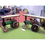 A Pair of Mamod #TE1A Live Steam Model Traction Engines, both playworn, no burners or scuttles for