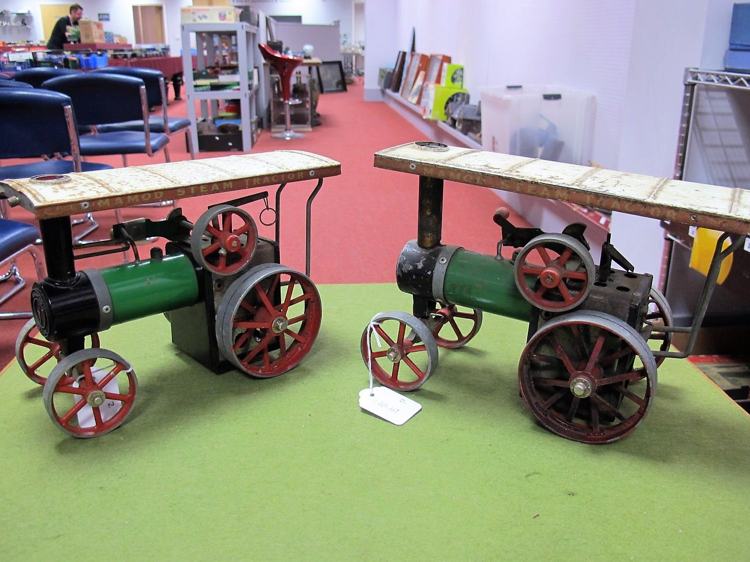 Lot 13 - A Pair of Mamod #TE1A Live Steam Model Traction Engines, both playworn, no burners or scuttles for