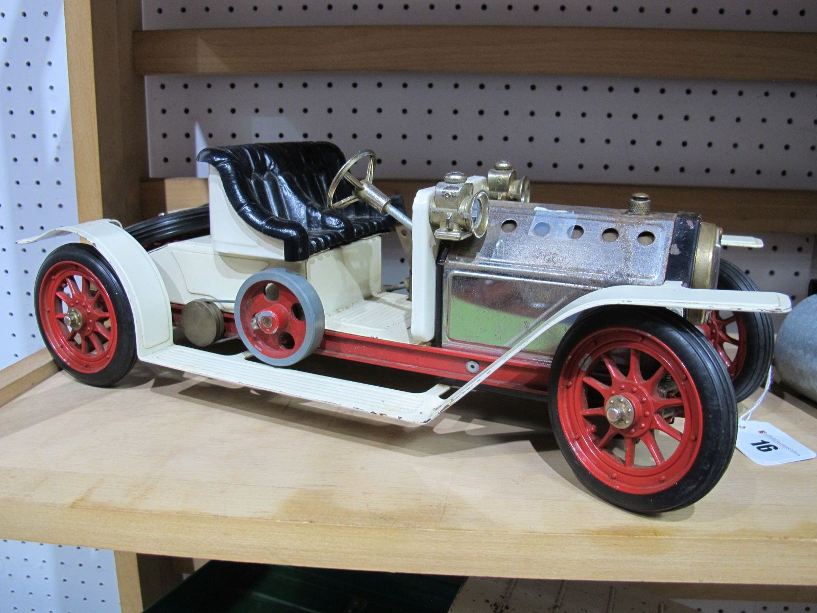 Lot 16 - A Mamod #SA1 Live Steam Roadster, ten spoke wheel version with boiler sight glass. The model has