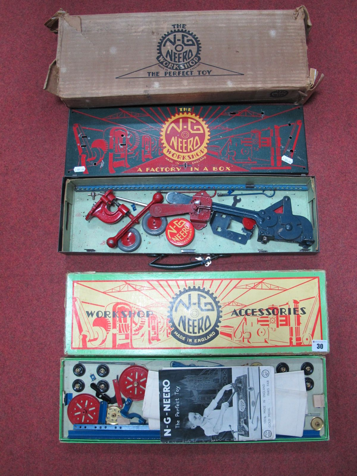 Lot 30 - Two Boxed Pre-War 'N-G Neero' Metal Construction Kits, one being a metal boxed 'Factory in a Box'