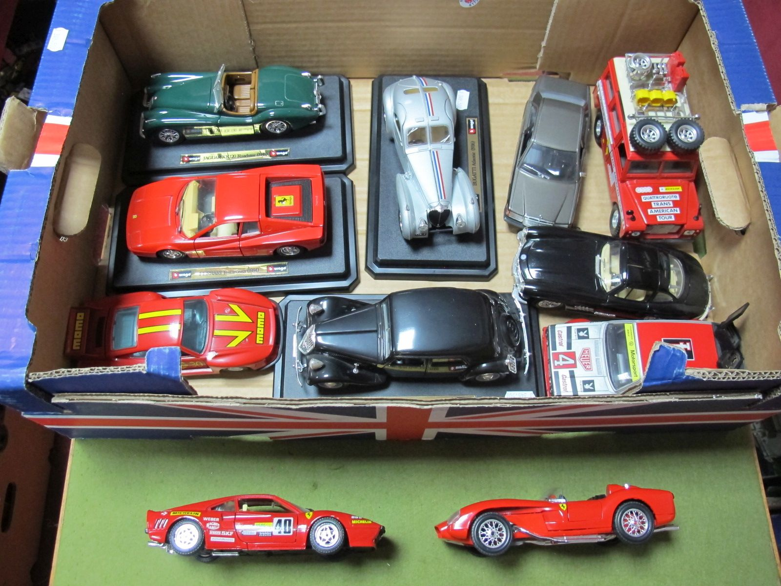 Lot 53 - Eleven Diecast Cars by Burago, predominantly 1:24th scale including Bugatti Atlantic (1936), Ferrari