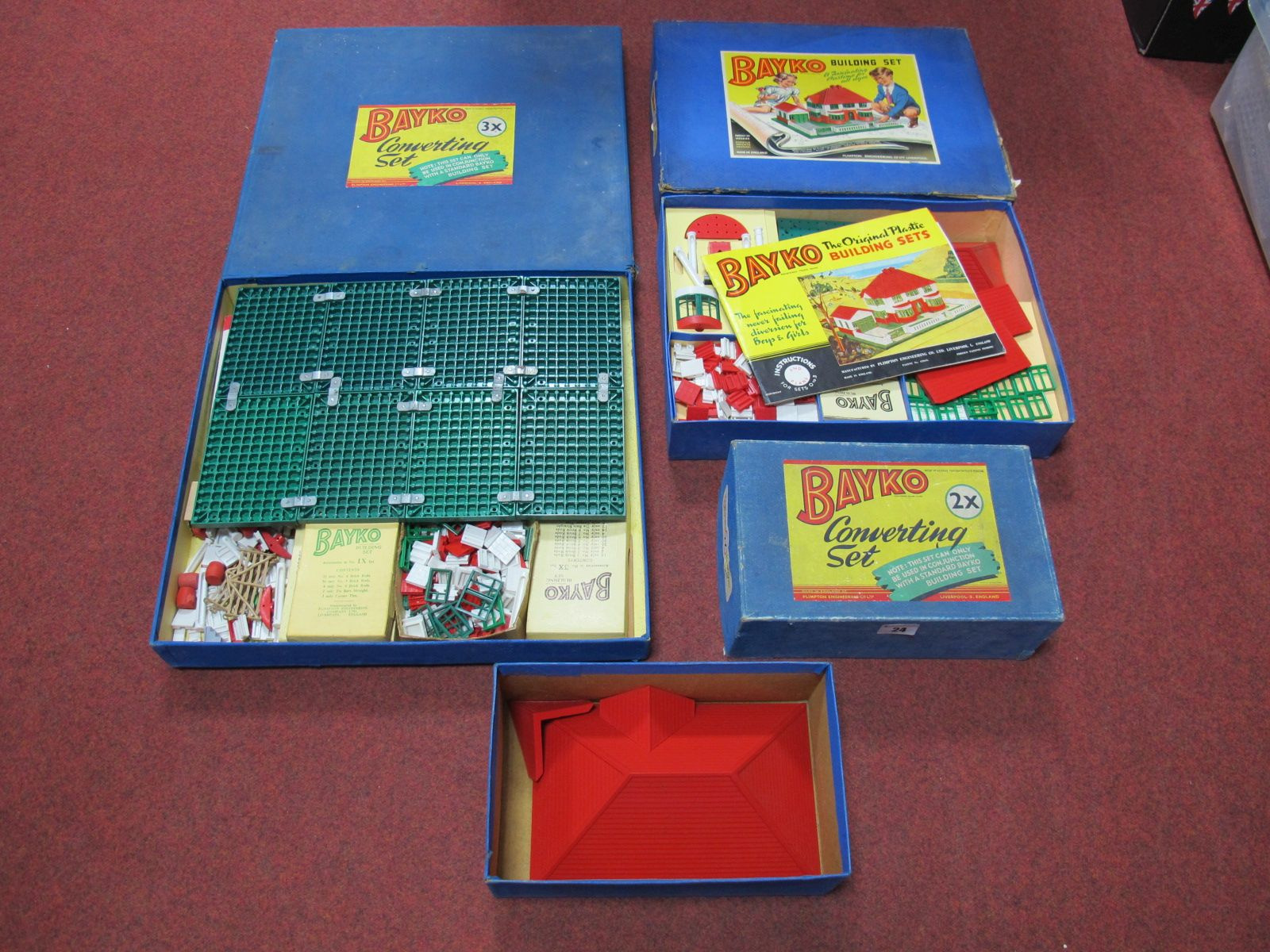 Lot 24 - Three Boxed Post War Bayko Sets #2, #3 and 2x Converting Set, unchecked for completeness,