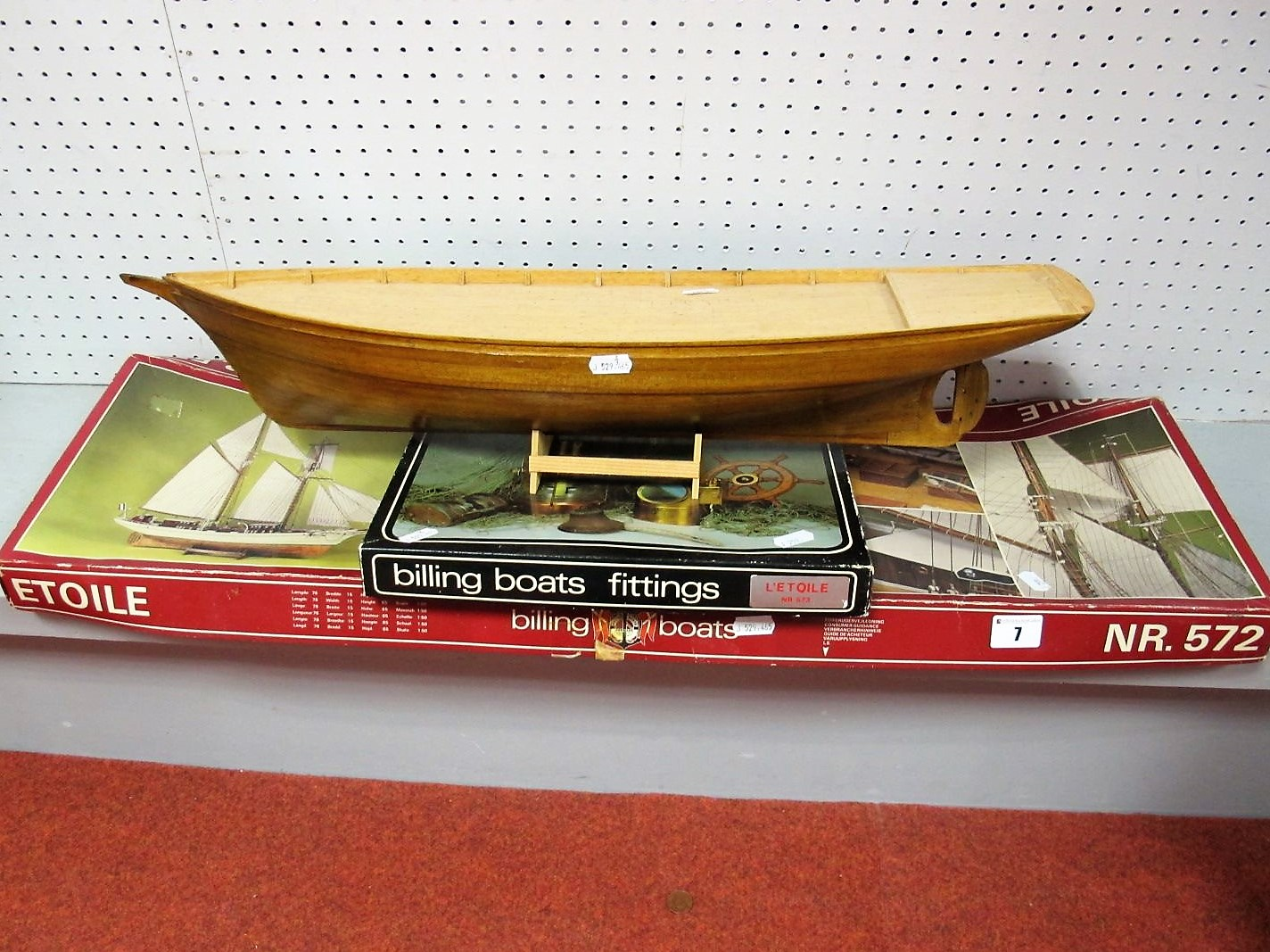 Lot 7 - A Billings Boat Models Kit #572 L'Etoile, the kit has been started with the hull built to a good
