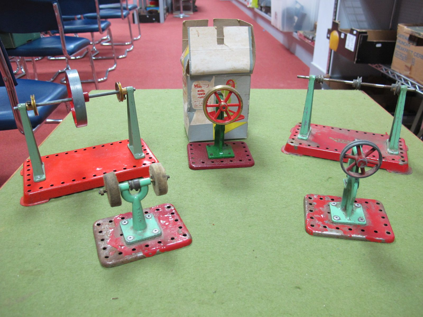 Lot 22 - Five Mamod Live Steam Plant Accessories, including power presses and buffing wheels. All playworn.
